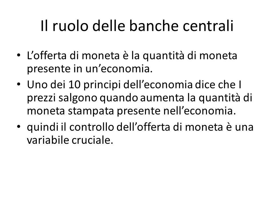 Il ruolo delle banche centrali L'offerta di moneta è la quantità di moneta presente in un'economia.