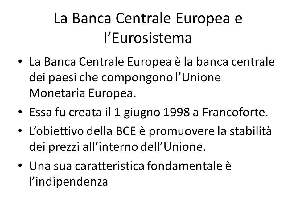 La Banca Centrale Europea e l'Eurosistema La Banca Centrale Europea è la banca centrale dei paesi che compongono l'Unione Monetaria Europea.