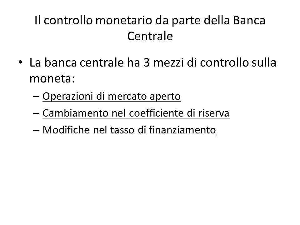Il controllo monetario da parte della Banca Centrale La banca centrale ha 3 mezzi di controllo sulla moneta: – Operazioni di mercato aperto – Cambiamento nel coefficiente di riserva – Modifiche nel tasso di finanziamento