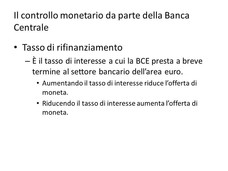 Il controllo monetario da parte della Banca Centrale Tasso di rifinanziamento – È il tasso di interesse a cui la BCE presta a breve termine al settore bancario dell'area euro.