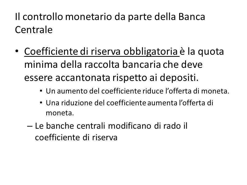 Il controllo monetario da parte della Banca Centrale Coefficiente di riserva obbligatoria è la quota minima della raccolta bancaria che deve essere accantonata rispetto ai depositi.