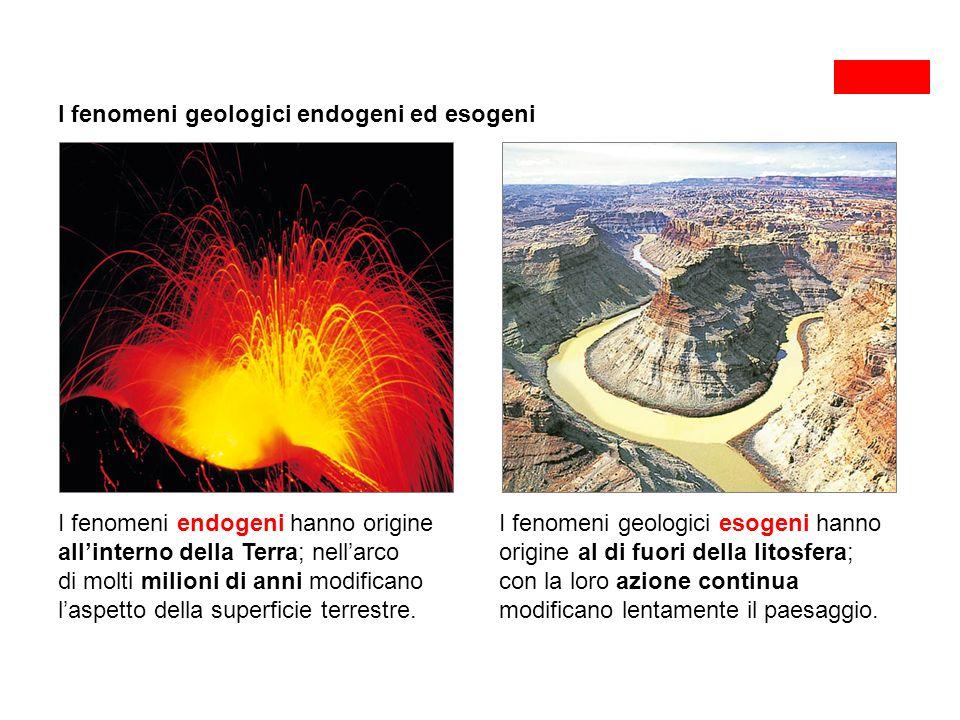 I fenomeni geologici endogeni ed esogeni I fenomeni endogeni hanno origine all'interno della Terra; nell'arco di molti milioni di anni modificano l'aspetto della superficie terrestre.