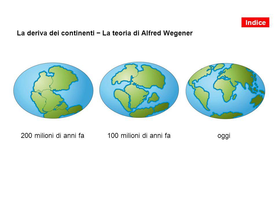 La deriva dei continenti − La teoria di Alfred Wegener 200 milioni di anni fa 100 milioni di anni faoggi Indice