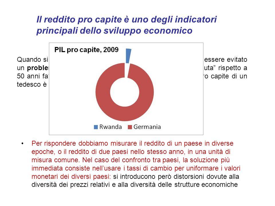 Quando si affronta il tema dello crescita economica non può essere evitato un problema di misura: in che senso, oggi, l'Italia è cresciuta rispetto a 50 anni fa.