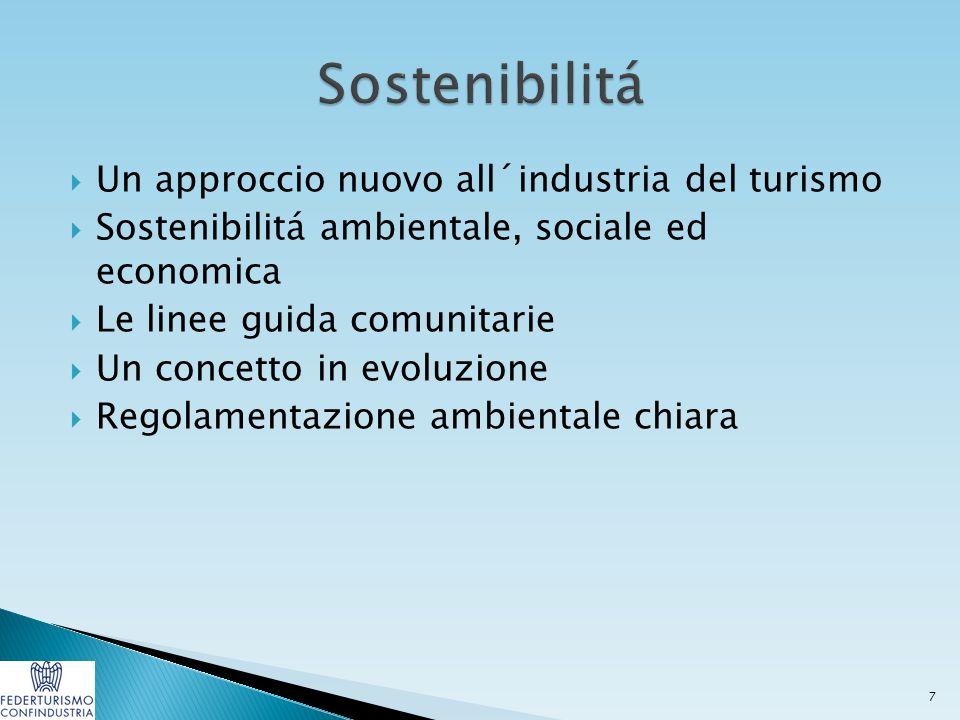  Un approccio nuovo all´industria del turismo  Sostenibilitá ambientale, sociale ed economica  Le linee guida comunitarie  Un concetto in evoluzione  Regolamentazione ambientale chiara 7