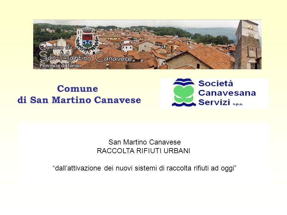 Comune di San Martino Canavese San Martino Canavese RACCOLTA RIFIUTI URBANI dall'attivazione dei nuovi sistemi di raccolta rifiuti ad oggi