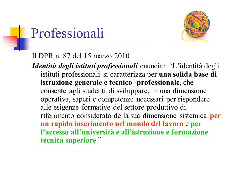 """Professionali Il DPR n. 87 del 15 marzo 2010 Identità degli istituti professionali enuncia: """"L'identità degli istituti professionali si caratterizza p"""