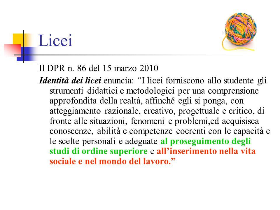 """Licei Il DPR n. 86 del 15 marzo 2010 Identità dei licei enuncia: """"I licei forniscono allo studente gli strumenti didattici e metodologici per una comp"""