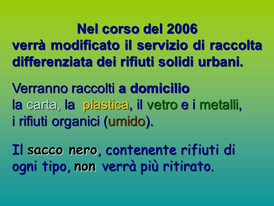 Nel corso del 2006 verrà modificato il servizio di raccolta differenziata dei rifiuti solidi urbani.