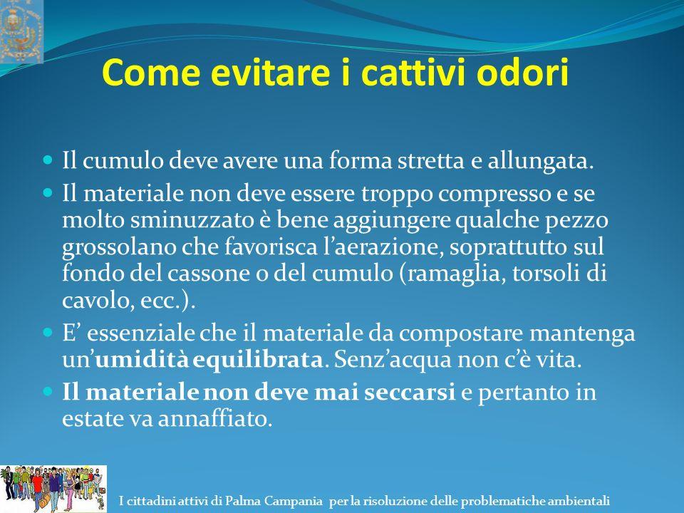 I cittadini attivi di Palma Campania per la risoluzione delle problematiche ambientali Come evitare i cattivi odori Il cumulo deve avere una forma stretta e allungata.
