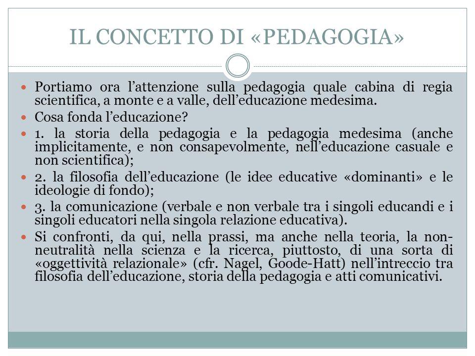 IL CONCETTO DI «PEDAGOGIA» Portiamo ora l'attenzione sulla pedagogia quale cabina di regia scientifica, a monte e a valle, dell'educazione medesima.