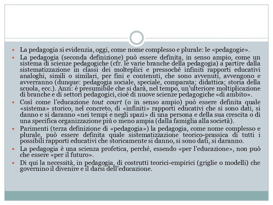 La pedagogia si evidenzia, oggi, come nome complesso e plurale: le «pedagogie».