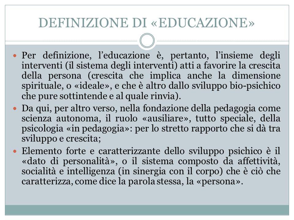 DEFINIZIONE DI «EDUCAZIONE» Per definizione, l'educazione è, pertanto, l'insieme degli interventi (il sistema degli interventi) atti a favorire la crescita della persona (crescita che implica anche la dimensione spirituale, o «ideale», e che è altro dallo sviluppo bio-psichico che pure sottintende e al quale rinvia).