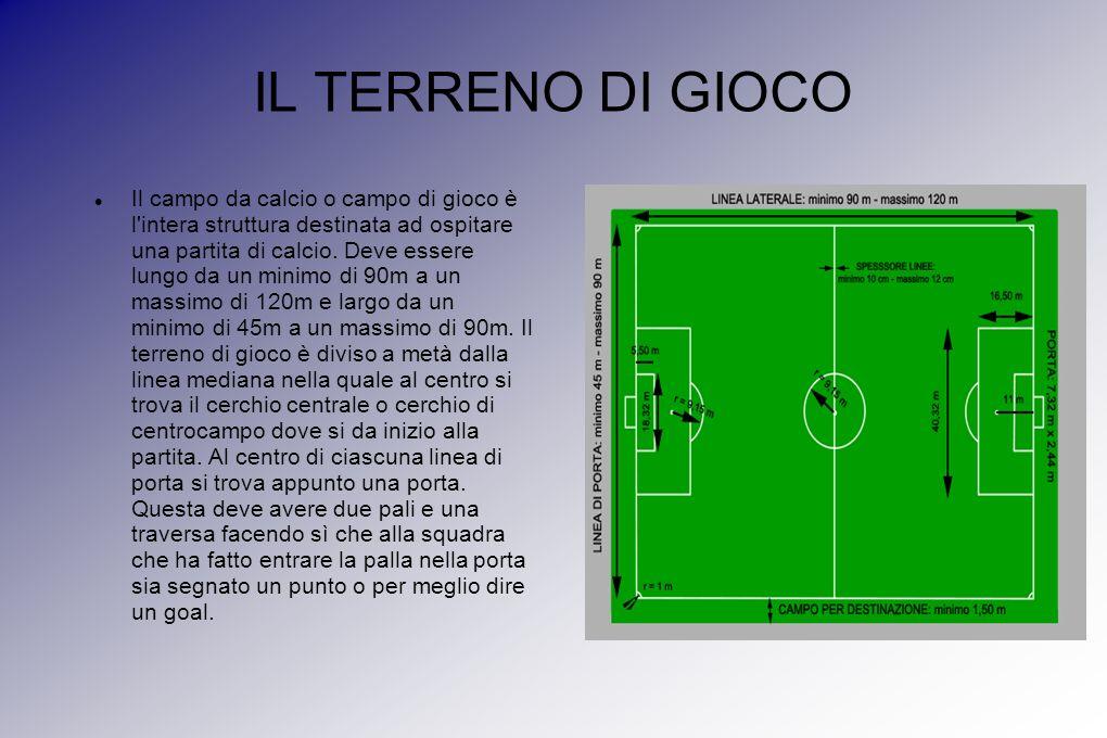 IL TERRENO DI GIOCO Il campo da calcio o campo di gioco è l intera struttura destinata ad ospitare una partita di calcio.