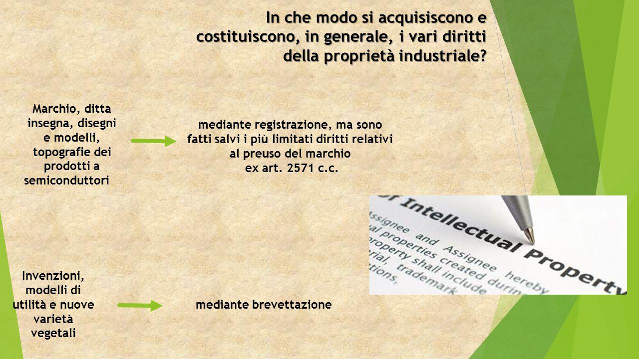 In che modo si acquisiscono e costituiscono, in generale, i vari diritti della proprietà industriale.