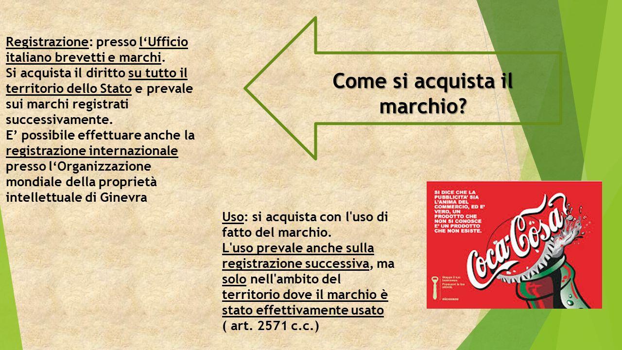 Come si acquista il marchio. Registrazione: presso l'Ufficio italiano brevetti e marchi.