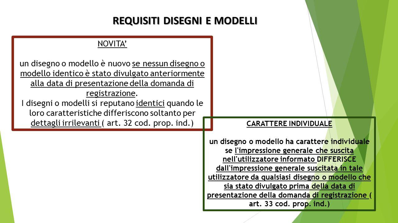 REQUISITI DISEGNI E MODELLI NOVITA' un disegno o modello è nuovo se nessun disegno o modello identico è stato divulgato anteriormente alla data di presentazione della domanda di registrazione.