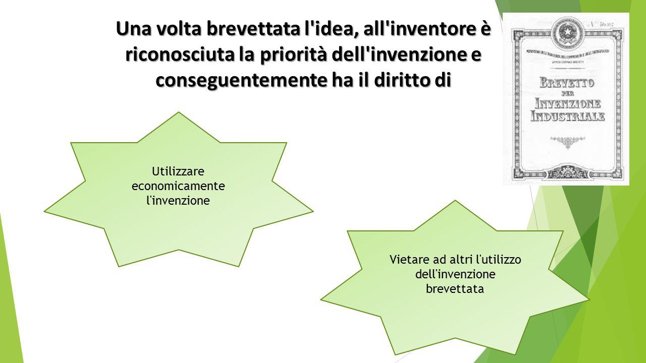 Una volta brevettata l idea, all inventore è riconosciuta la priorità dell invenzione e conseguentemente ha il diritto di Utilizzare economicamente l invenzione Vietare ad altri l utilizzo dell invenzione brevettata