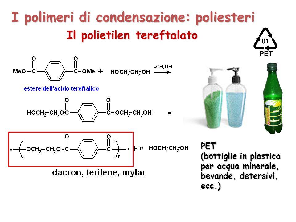 I polimeri di condensazione: poliesteri Il polietilen tereftalato PET (bottiglie in plastica per acqua minerale, bevande, detersivi, ecc.)