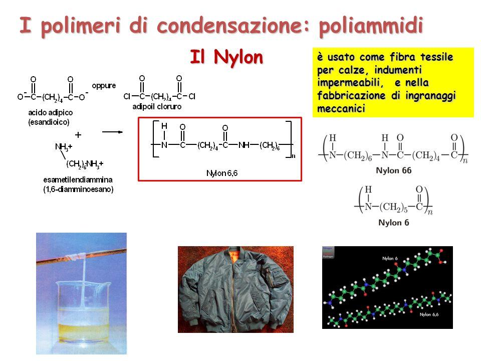 Il Nylon è usato come fibra tessile per calze, indumenti impermeabili, e nella fabbricazione di ingranaggi meccanici I polimeri di condensazione: poliammidi