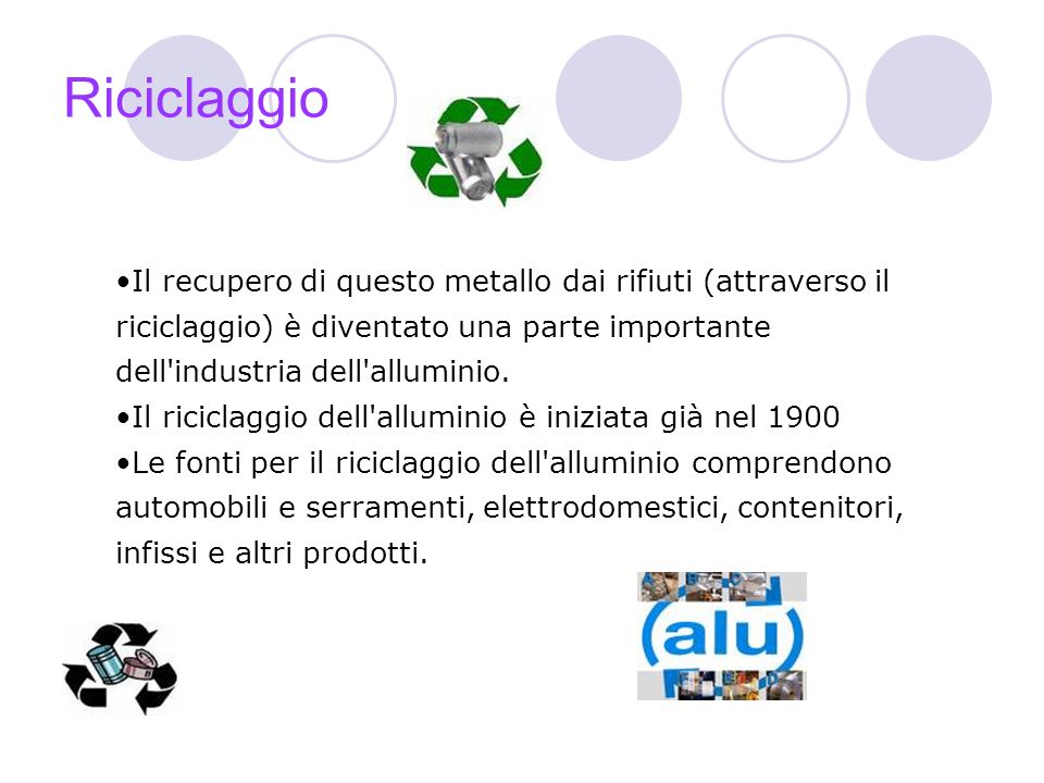 Riciclaggio Il recupero di questo metallo dai rifiuti (attraverso il riciclaggio) è diventato una parte importante dell industria dell alluminio.