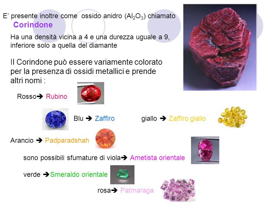 Ulteriore presenza dell'alluminio è nei Feldspati, quale l'Ortoclasio KAlSi 3 O 8 e l'Albite tra i più diffusi e nei cosiddetti alluminosilicati quali: nella criolite (3NaF · AlF 3 ) nell'allume di rocca (KAl(SO 4 ) 2 · 12H 2 O)