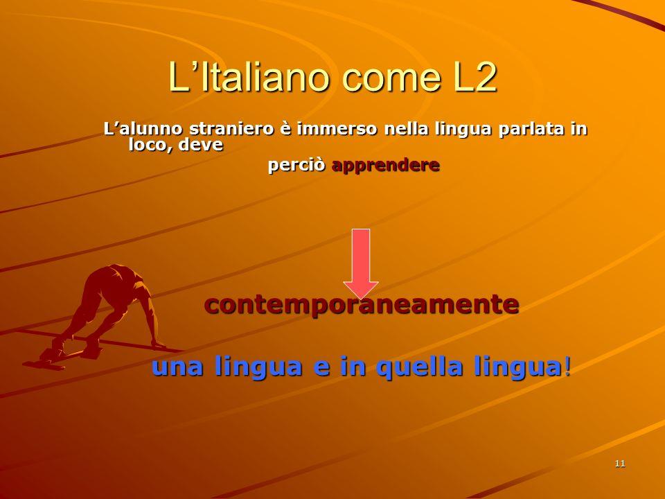 11 L'Italiano come L2 L'alunno straniero è immerso nella lingua parlata in loco, deve perciò apprendere perciò apprenderecontemporaneamente una lingua e in quella lingua!