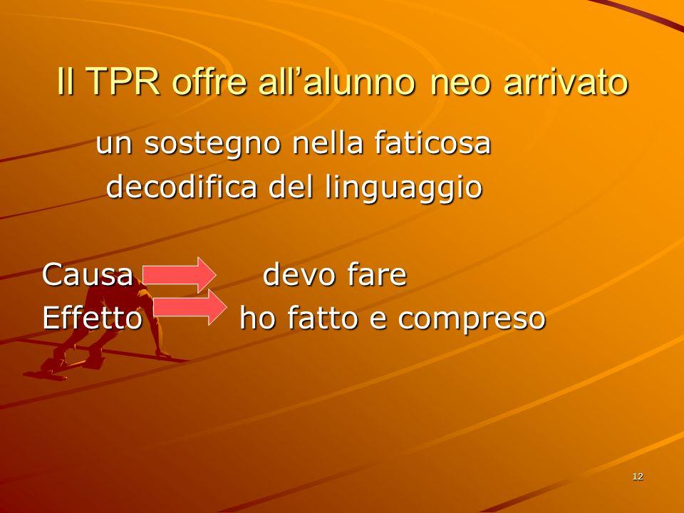 12 Il TPR offre all'alunno neo arrivato un sostegno nella faticosa un sostegno nella faticosa decodifica del linguaggio decodifica del linguaggio Causa devo fare Effetto ho fatto e compreso