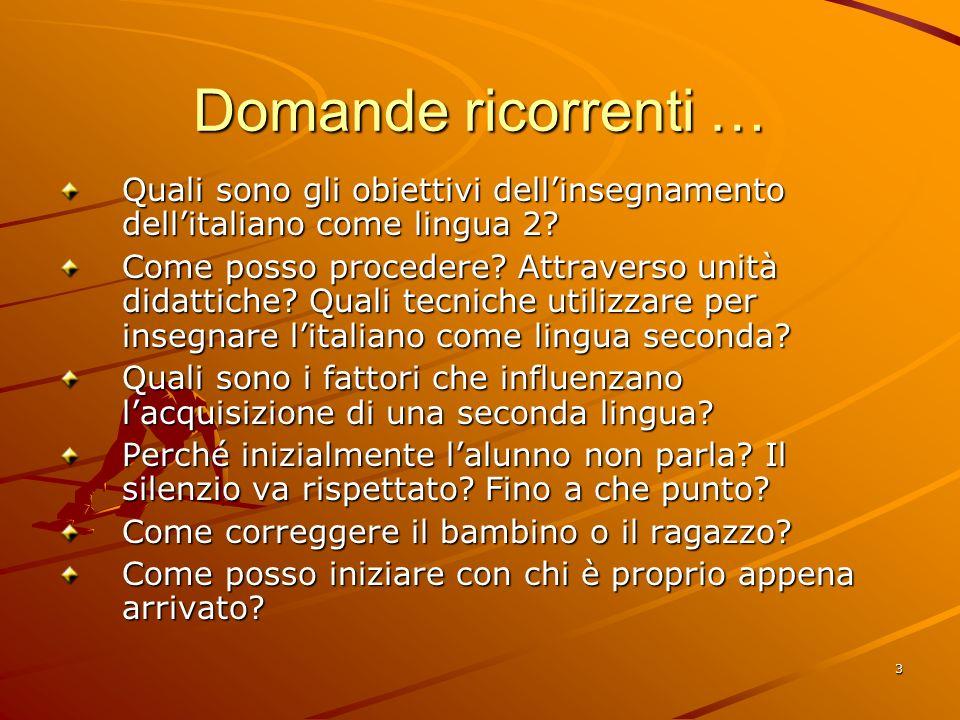 3 Domande ricorrenti … Quali sono gli obiettivi dell'insegnamento dell'italiano come lingua 2? Come posso procedere? Attraverso unità didattiche? Qual