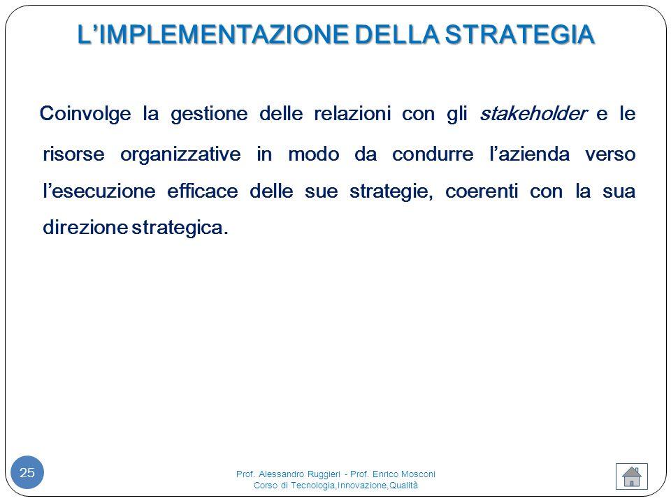 L'IMPLEMENTAZIONE DELLA STRATEGIA 25 Coinvolge la gestione delle relazioni con gli stakeholder e le risorse organizzative in modo da condurre l'azienda verso l'esecuzione efficace delle sue strategie, coerenti con la sua direzione strategica.