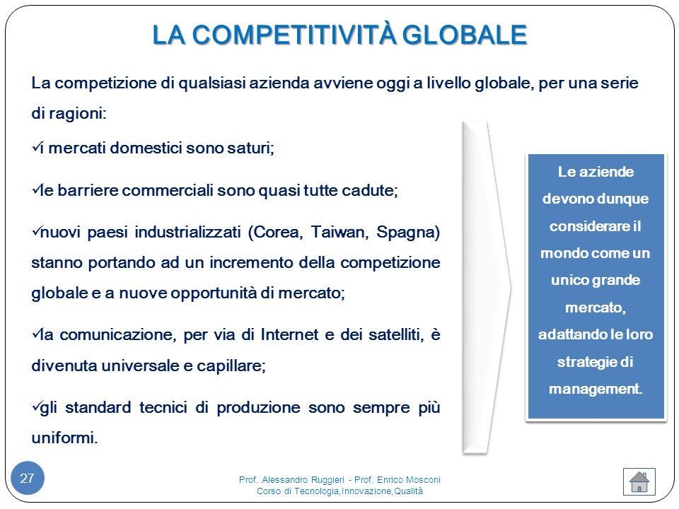 27 Le aziende devono dunque considerare il mondo come un unico grande mercato, adattando le loro strategie di management.