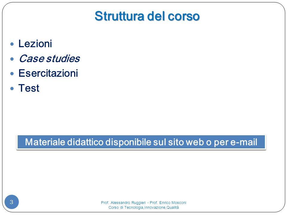 Struttura del corso 3 Lezioni Case studies Esercitazioni Test Materiale didattico disponibile sul sito web o per e-mail Prof.