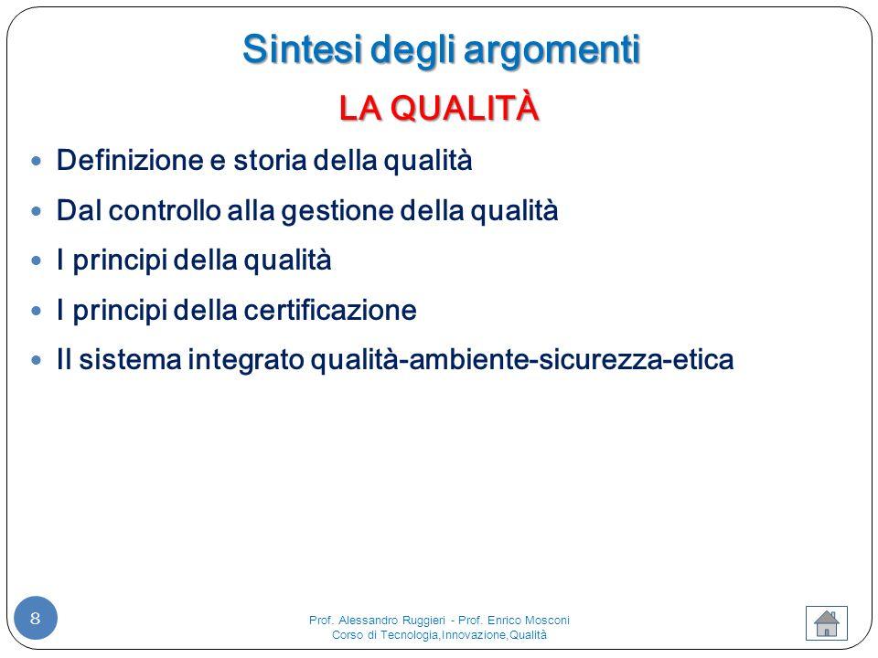 8 LA QUALITÀ Definizione e storia della qualità Dal controllo alla gestione della qualità I principi della qualità I principi della certificazione Il sistema integrato qualità-ambiente-sicurezza-etica Sintesi degli argomenti Prof.