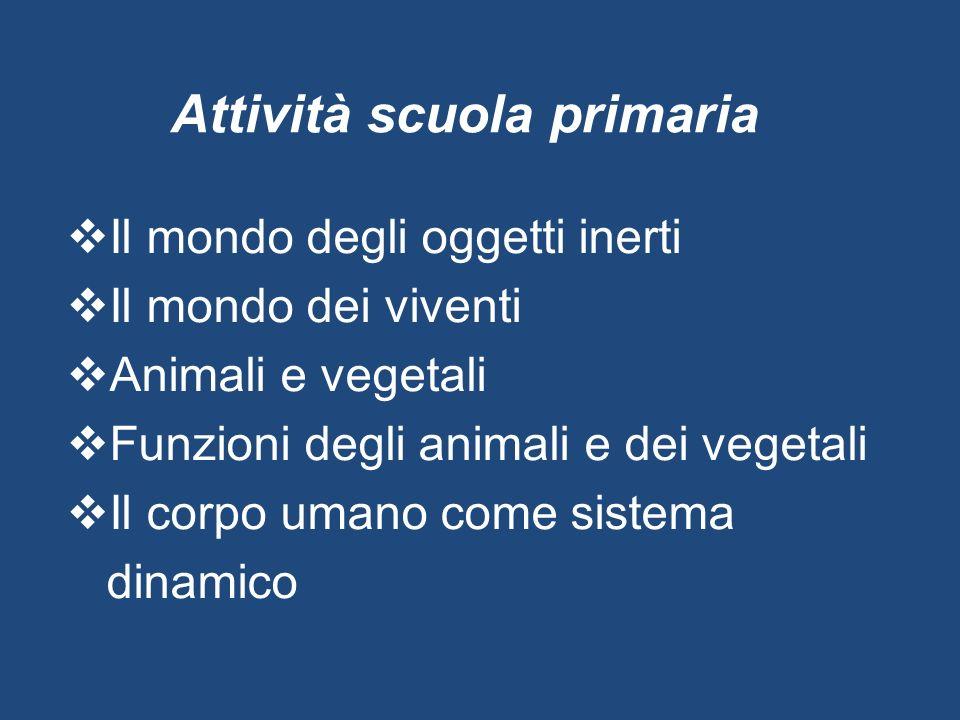 Attività scuola primaria  Il mondo degli oggetti inerti  Il mondo dei viventi  Animali e vegetali  Funzioni degli animali e dei vegetali  Il corp