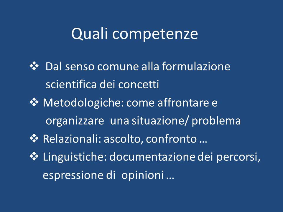 Quali competenze  Dal senso comune alla formulazione scientifica dei concetti  Metodologiche: come affrontare e organizzare una situazione/ problema
