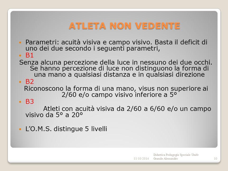 ATLETA NON VEDENTE Parametri: acuità visiva e campo visivo.