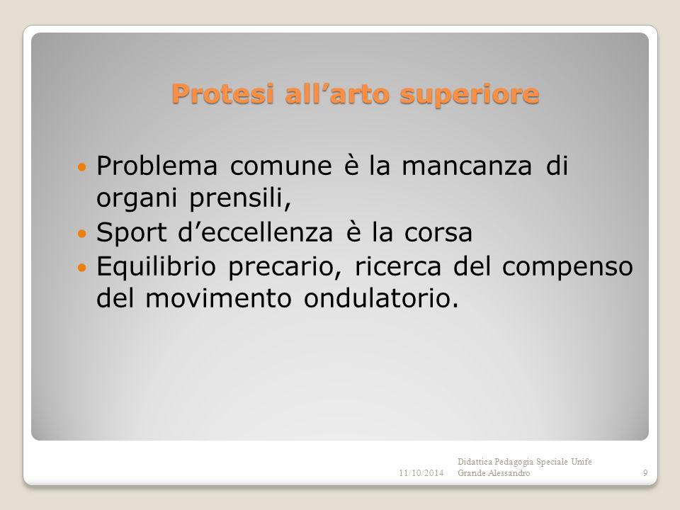 Protesi all'arto superiore Problema comune è la mancanza di organi prensili, Sport d'eccellenza è la corsa Equilibrio precario, ricerca del compenso del movimento ondulatorio.