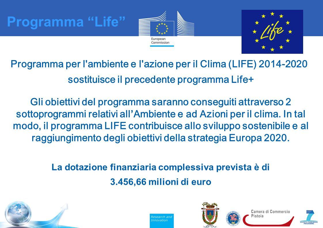 Programma per l ambiente e l azione per il Clima (LIFE) 2014-2020 sostituisce il precedente programma Life+ Gli obiettivi del programma saranno conseguiti attraverso 2 sottoprogrammi relativi all ' Ambiente e ad Azioni per il clima.