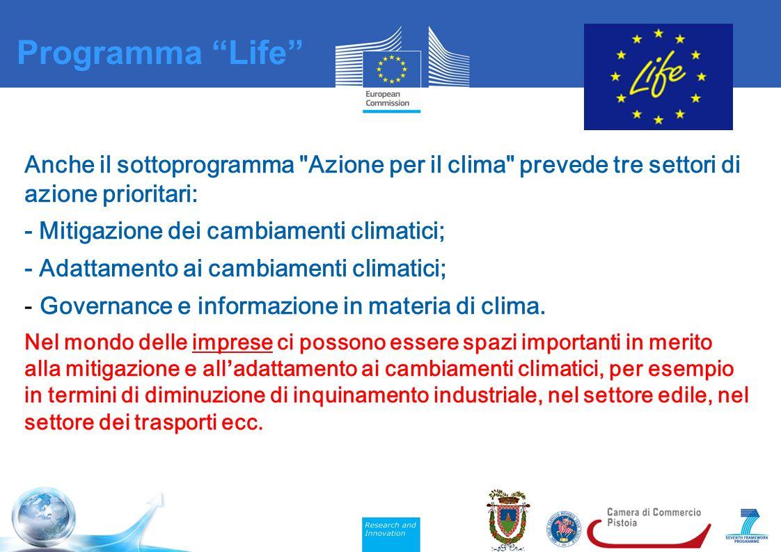 Anche il sottoprogramma Azione per il clima prevede tre settori di azione prioritari: - Mitigazione dei cambiamenti climatici; - Adattamento ai cambiamenti climatici; - Governance e informazione in materia di clima.