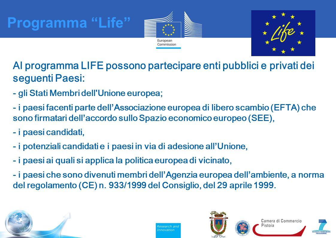 Al programma LIFE possono partecipare enti pubblici e privati dei seguenti Paesi: - gli Stati Membri dell Unione europea; - i paesi facenti parte dell ' Associazione europea di libero scambio (EFTA) che sono firmatari dell ' accordo sullo Spazio economico europeo (SEE), - i paesi candidati, - i potenziali candidati e i paesi in via di adesione all ' Unione, - i paesi ai quali si applica la politica europea di vicinato, - i paesi che sono divenuti membri dell ' Agenzia europea dell ' ambiente, a norma del regolamento (CE) n.