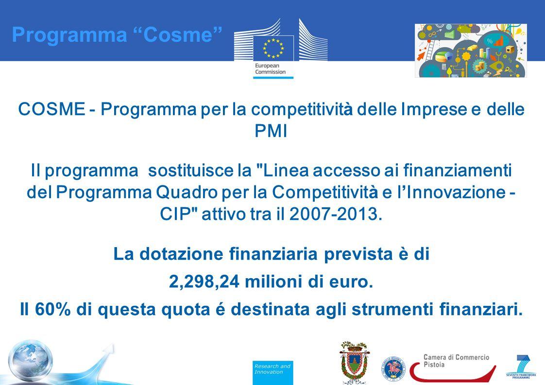 COSME - Programma per la competitivit à delle Imprese e delle PMI Il programma sostituisce la Linea accesso ai finanziamenti del Programma Quadro per la Competitivit à e l ' Innovazione - CIP attivo tra il 2007-2013.