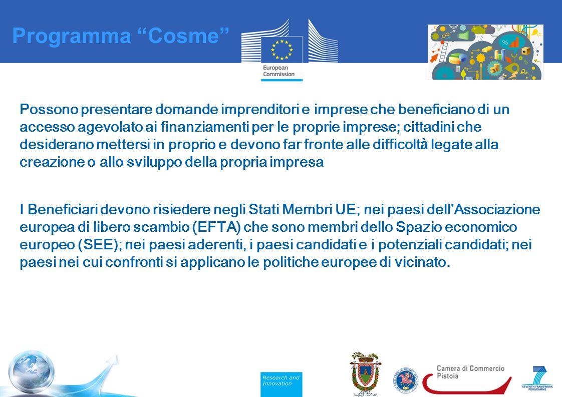 Possono presentare domande imprenditori e imprese che beneficiano di un accesso agevolato ai finanziamenti per le proprie imprese; cittadini che desiderano mettersi in proprio e devono far fronte alle difficolt à legate alla creazione o allo sviluppo della propria impresa I Beneficiari devono risiedere negli Stati Membri UE; nei paesi dell Associazione europea di libero scambio (EFTA) che sono membri dello Spazio economico europeo (SEE); nei paesi aderenti, i paesi candidati e i potenziali candidati; nei paesi nei cui confronti si applicano le politiche europee di vicinato.