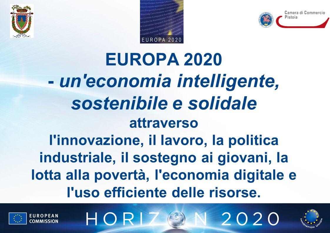 EUROPA 2020 - un economia intelligente, sostenibile e solidale attraverso l innovazione, il lavoro, la politica industriale, il sostegno ai giovani, la lotta alla povertà, l economia digitale e l uso efficiente delle risorse.