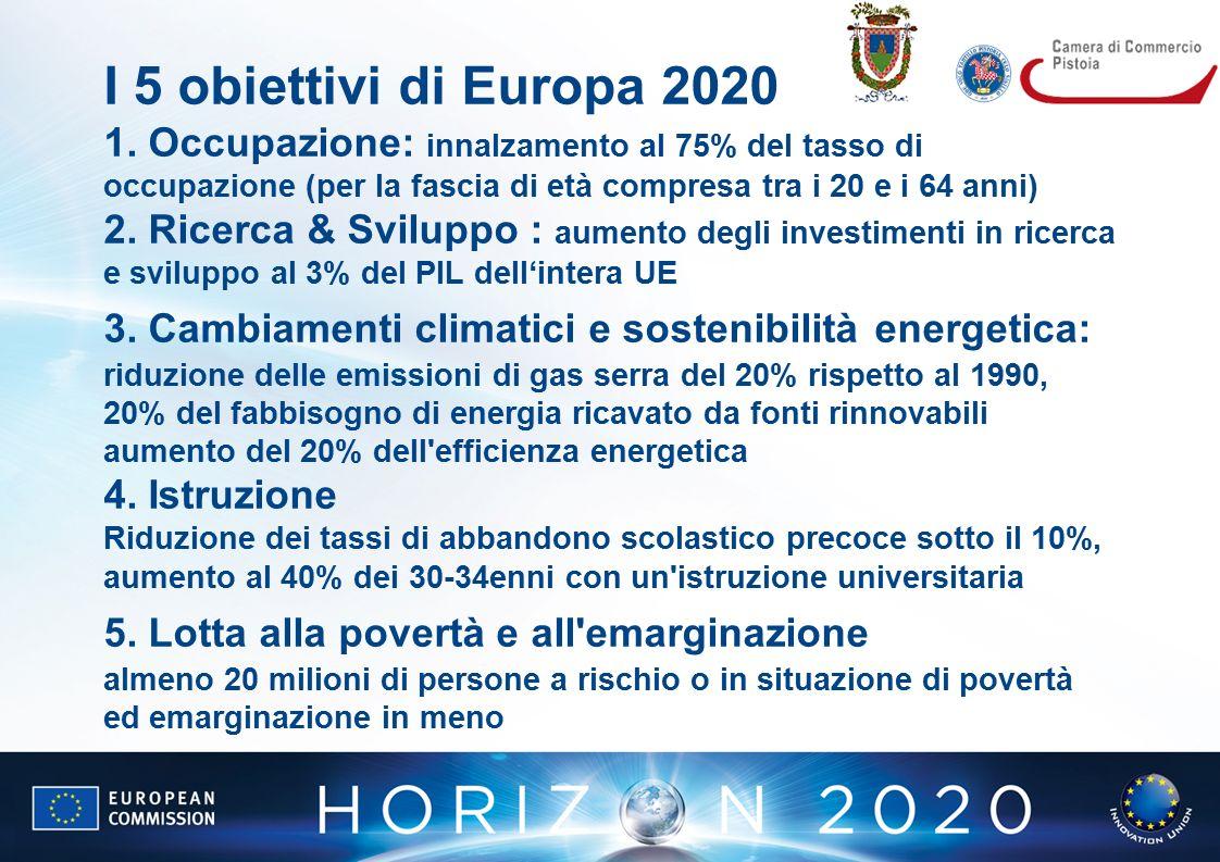 I 5 obiettivi di Europa 2020 1.