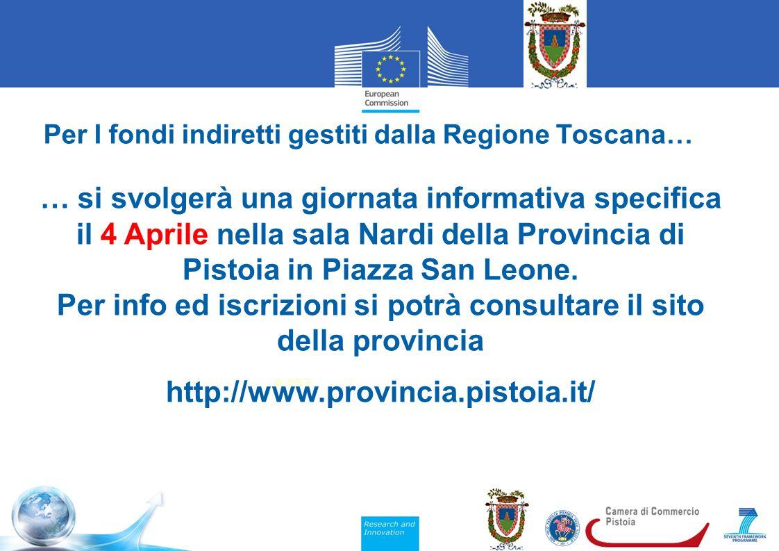 Per I fondi indiretti gestiti dalla Regione Toscana… 6,552 … si svolgerà una giornata informativa specifica il 4 Aprile nella sala Nardi della Provincia di Pistoia in Piazza San Leone.