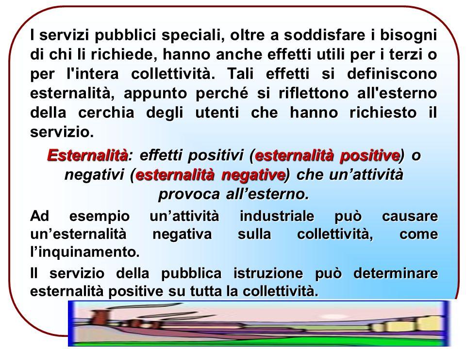 I servizi pubblici speciali, oltre a soddisfare i bisogni di chi li richiede, hanno anche effetti utili per i terzi o per l intera collettività.