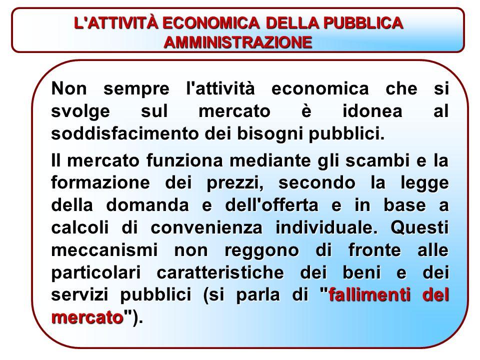 Non sempre l attività economica che si svolge sul mercato è idonea al soddisfacimento dei bisogni pubblici.