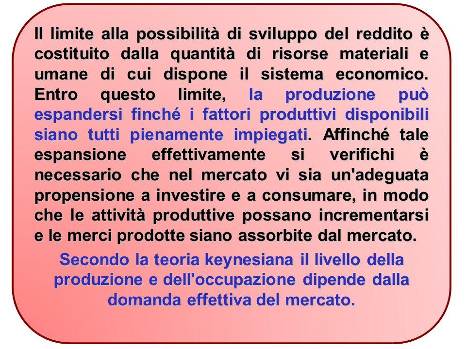 Il limite alla possibilità di sviluppo del reddito è costituito dalla quantità di risorse materiali e umane di cui dispone il sistema economico.