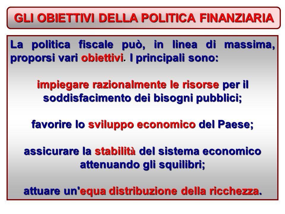 GLI OBIETTIVI DELLA POLITICA FINANZIARIA La politica fiscale può, in linea di massima, proporsi vari obiettivi.
