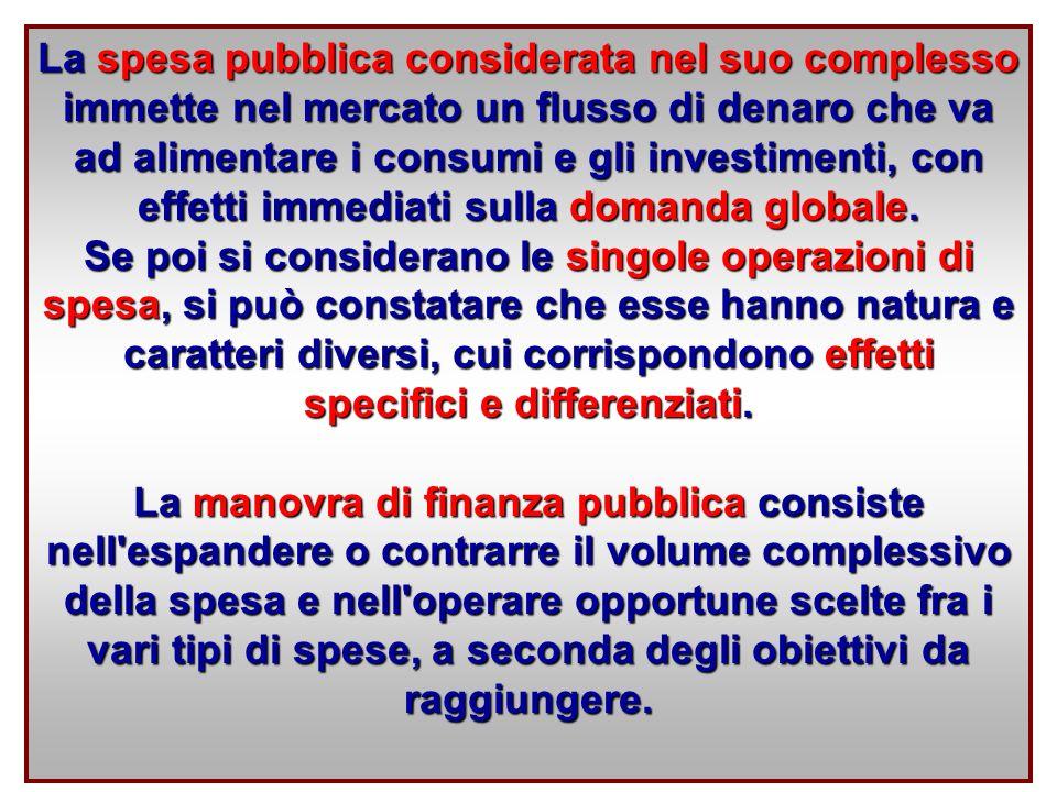 La spesa pubblica considerata nel suo complesso immette nel mercato un flusso di denaro che va ad alimentare i consumi e gli investimenti, con effetti immediati sulla domanda globale.